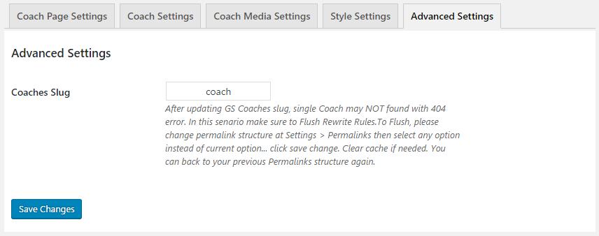 GS Coaches Advanced Settings