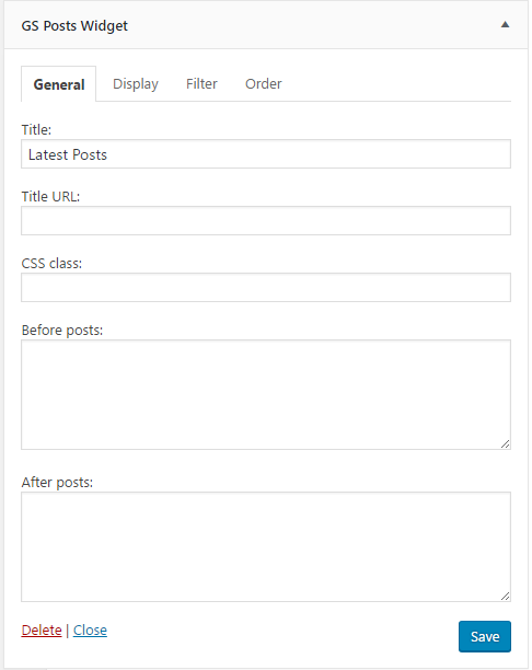 Posts Widget General Settings