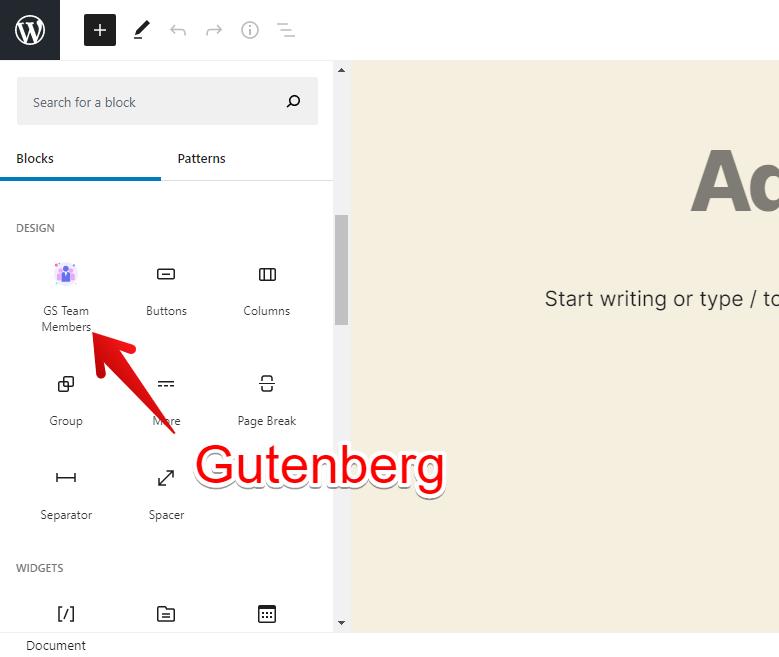 Gutenberg Team Members Block