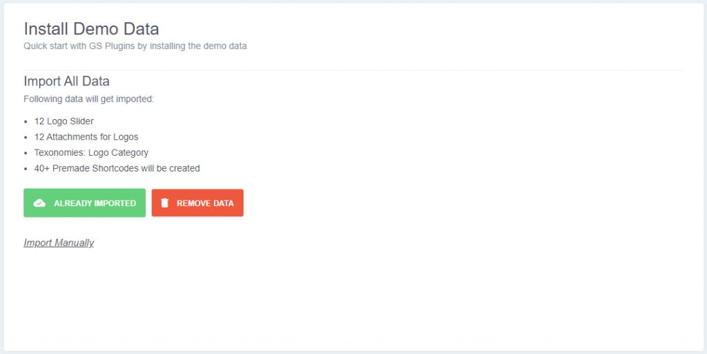 Install Demo Data for Logo Slider plugin