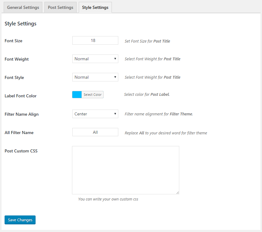 Posts Grid Style Settings