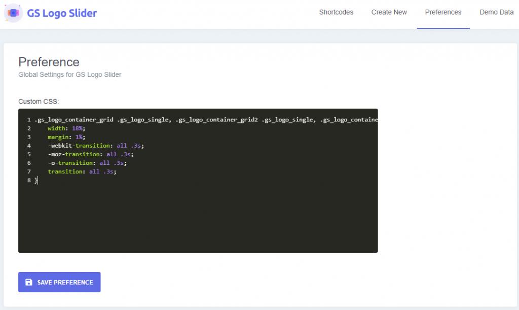 Preferences / Custom CSS for Logo Slider plugin