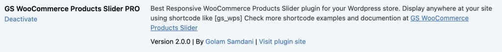 activate GS WooCommerce Product Slider plugin