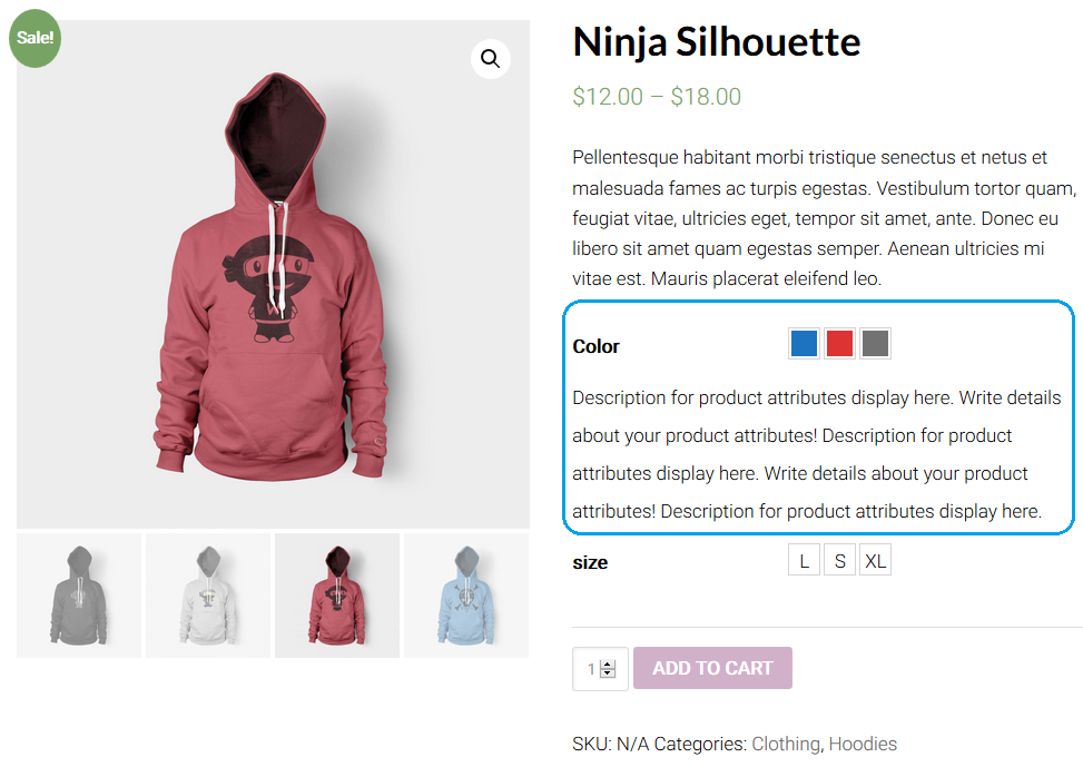Attribute Description in Product details page.
