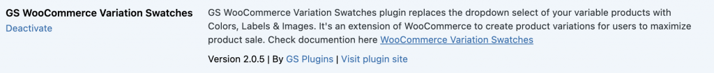 activate GS WooCommerce Variation Swatches plugin