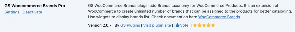 Activate GS WooCommerce Brands plugin